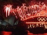 Fireworks on the Sydney Harbour Bridge for the end of the Olympics on October 1, 2000