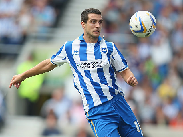 Brighton's Gary Dicker in action against Chelsea during a friendly match on August 4, 2012