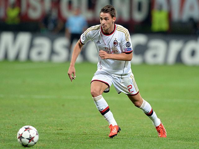 AC Milan's Mattia De Sciglio in action against PSV Eindhoven on August 28, 2013