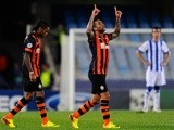Shakhtar Donetsk's Alex Reixeira celebrates a goal against Real Sociedad on September 17, 2013