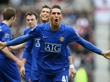 Federico Macheda celebrates scoring a goal for Manchester United against Sunderland on April 11, 2009