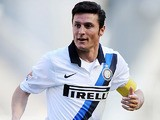 Inter's Javier Zanetti in action against Cagliari Calcio on April 14, 2013