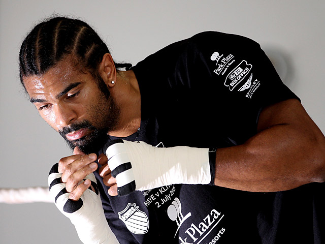 David Haye during a public training day during preparations for his heavyweight fight against Wladimir Klitschko on June 29, 2011