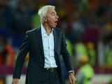 Dutch headcoach Bert van Marwijk gestures during the Euro 2012 football championships match Portugal vs. Netherlands, on June 17, 2012