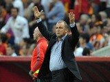 Galatasaray's head coach Fatih Terim gestures during the UEFA Champions League football match Galatasaray vs Real Madrid on September 17, 2013