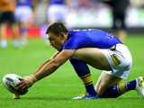 Kevin Sinfield of Leeds Rhinos lines up a conversion during the Super League match between Wigan Warriors and Leeds Rhinos at DW Stadium on September 5, 2013
