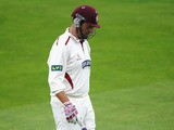 Marcus Trescothick of Somerset walks back to the pavilion after making 2 runs during day two of the LV County Championship division one match between Nottinghamshire and Somerset at Trent Bridge on September 25, 2013