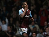 West Ham's Ricardo Vaz Te celebrates after scoring the winner against Cardiff during their League Cup match on September 24, 2013
