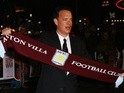 Aston Villa fan Tom Hanks poses with a club scarf on January 9, 2008