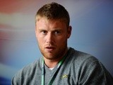 Former England cricketer Andrew Flintoff in a punditry role for Sky TV on July 7, 2011