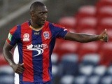 Newcastle Jets striker Emile Heskey celebrates a goal against Melbourne Heart on February 15, 2013