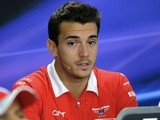 Marussia driver Jules Bianchi talks to the press on October 3, 2013