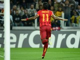 Galatasaray's forward Didier Drogba celebrates after scoring during the group B Champions League football match Juventus vs Galatasaray, on October 2, 2013