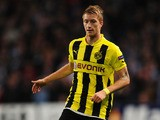 Marco Reus of Borussia Dortmund in action during the UEFA Champions League Group D match between Manchester City and Borussia Dortmund at the Etihad Stadium on October 3, 2012