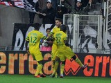 Nantes Serbian forward Filip Djordjevic jubilates with teamates after scoring during the French L1 football match Nantes against Evian-Thonon on 5 October, 2013