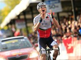 Rui Costa crosses the finish line during the elite men's road race at the UCI World Championship on September 29, 2013