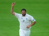 Durham bowler Steve Harmison celebrates the wicket of Kyle Hogg during day two of the LV County Championship division one match between Durham and Lancashire at The Riverside on May 31, 2012
