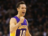 Los Angeles Lakers' Steve Nash in action against San Antonio Spurs on April 24, 2013