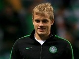 Celtic's Teemu Pukki warms up before a game with Barcelona on October 1, 2013