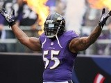 Ravens linebacker Terrell Suggs before the start of a game with Houston on September 22, 2013