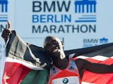 Kenya's Wilson Kipsang celebrates after his win at the Berlin Marathon on September 29, 2013