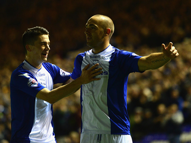 Birmingham's David Murphy celebrates after scoring his team's second goal against Millwall during their Championship match on October 1, 2013
