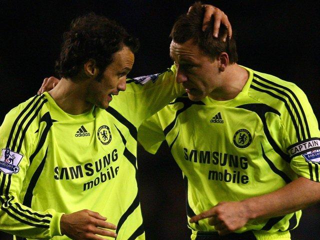 John Terry and Ricardo Carvalho celebrate Chelsea's win at Everton in April 2008.
