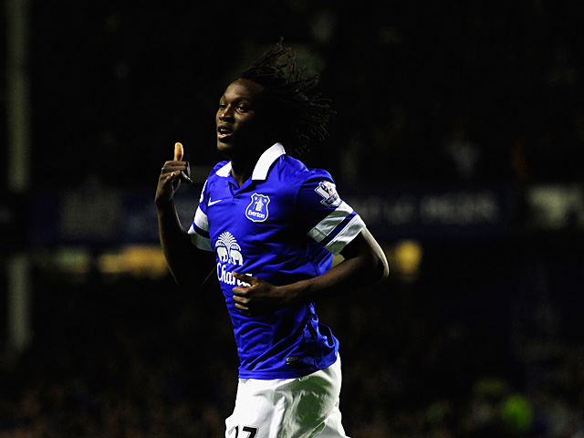 Everton's Romelu Lukaku celebrates after scoring his team's second goal against Newcastle during their Premier League match on September 30, 2013