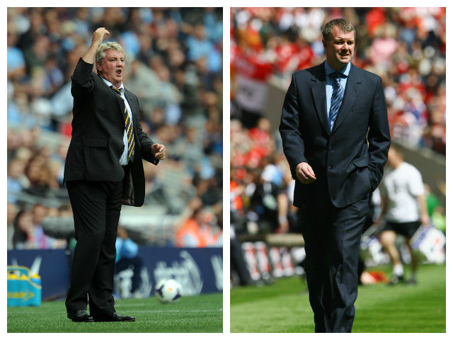 A collage of former Manchester United defenders Steve Bruce and Gary Pallister.