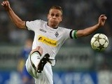 Moenchengladbach's Belgian defender Filip Daems plays the ball during the Champions League Play-off round 1 st leg football match Borussia Moenchengladbach vs FC Dynamo Kyiv on August 21, 2012