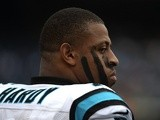 Greg Hardy of the Carolina Panthers looks onto the field during the game against the San Diego Chargers on December 16, 2012