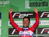 Spanish Joaquim Rodriguez celebrates on the podium of the 107th edition of the Giro di Lombardia, a 242 km cycling race from Bergamo to Lecco on October 6, 2013