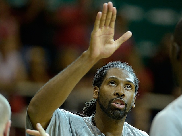 Nene of the Washington Wizards reacts during Chicago Bulls v Washington Wizards - NBA Global Games Rio 2013 at Arena HSBC on October 12, 2013