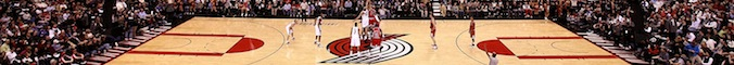 A general view of the tip off between the Chicago Bulls and the Portland Trail Blazers at the Rose Garden on November 18, 2008