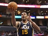 Derrick Favors of the Utah Jazz goes up to shoot against the Los Angeles Clippers at Staples Center on February 23, 2013
