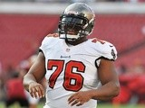 Guard Jeremy Zuttah of the Tampa Bay Buccaneers sets for play against the Washington Redskins August 29, 2013