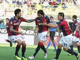 Jose Angel Crespo of Bologna FC celebrates after scoring the opening goal during the Serie A match between Bologna FC and AS Livorno Calcio at Stadio Renato Dall'Ara on October 27, 2013