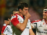Chris Henry and Robbie Diack of Ulster Rugby celebrate winning the Heineken Cup match between Ulster and Leicester Tigers at Ravenhill on October 11, 2013