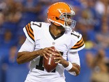 Jason Campbell of the Cleveland Browns passes the ball during the preseason game against the Indianapolis Colts at Lucas Oil Stadium on August 24, 2013