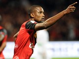 Guingamp's Senegalese midfileder Moustapha Diallo jubilates after scoring during the French L1 football match Guingamp against Ajaccio on October 26, 2013