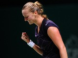 Petra Kvitova celebrates her win over Angelique Kerber during their WTA Championships match on October 25, 2013