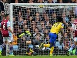 Everton's Belgian striker Romelu Lukaku scores the opening goal past Aston Villa's Brad Guzan during the English Premier League football match on October 26, 2013