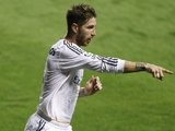 Sergio Ramos celebrates scoring for Real Madrid against Levante on October 5, 2013.