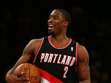 Wesley Matthews #2 of the Portland Trail Blazers celebrates the win over the New York Knicks on January 1, 2013