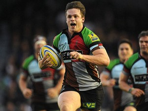 Harlequins's Jack Clifford breaks clear to score his team's second try against Sale on October 26, 2013