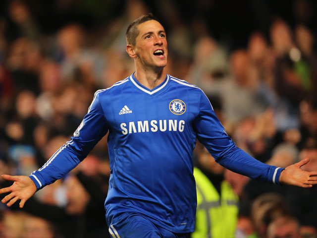 Fernando Torres of Chelsea celebrates scoring their second goal during the Barclays Premier League match between Chelsea and Manchester City at Stamford Bridge on October 27, 2013