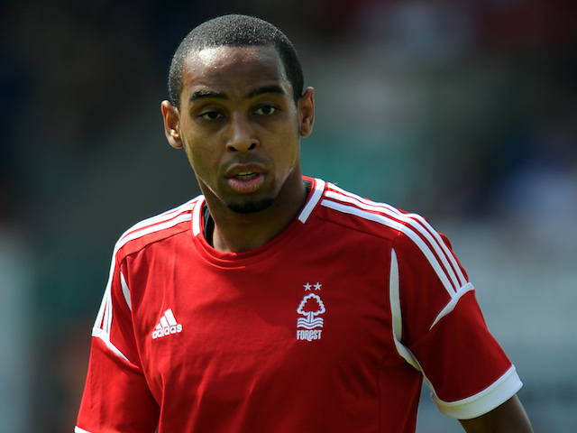 Dexter Blackstock of Nottingham Forest looks on during the pre-season friendly match between Mansfield Town and Nottingham Forest at One Call Stadium on July 13, 2013