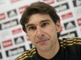 Real Madrid's assistant coach Aitor Karanka attends a press conference after a training session at Real Madrid sport city on December 9, 2011
