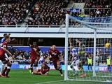 QPR's Clint Hill scores his team's second goal against Derby during their Championship match on November 2, 2013