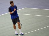 Spain's Feliciano Lopez reacts after a point against Australia's Bernard Tomic during their first round tennis match at the ninth and final ATP World Tour Masters 1000 indoor tournament on October 28, 2013